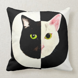 Yin yang cat black and white cushion
