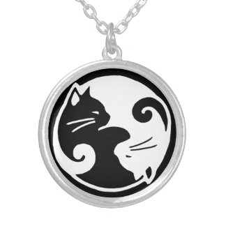 Yin Yang Cats Medium Round Necklace