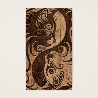 Yin Yang Cats with Wood Grain Effect Business Card