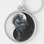 Yin Yang Chinese Dragon Large Key Ring Silver-Colored Round Key Ring