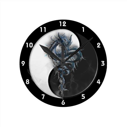 Yin Yang Chinese Dragon Wall Clock Zazzle