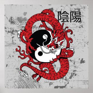 Yin yang Chinese symbol and dragon Poster