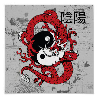 Yin yang Chinese symbol and dragon Poster