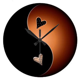 yin yang coffee large clock