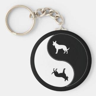 Yin Yang Dog Basic Round Button Key Ring