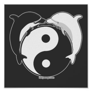 Yin Yang Dolphins Black/White Poster