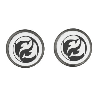Yin Yang Dolphins Cufflinks Gunmetal Finish Cufflinks