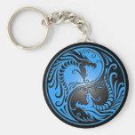 Yin Yang Dragons, blue and black Keychains