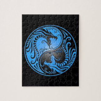 Yin Yang Dragons, blue and black Puzzle
