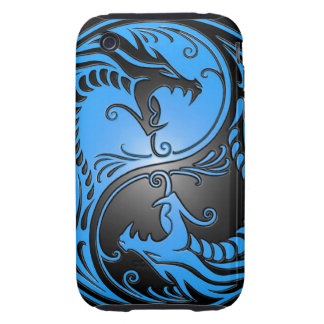 Yin Yang Dragons, blue and black Tough iPhone 3 Covers