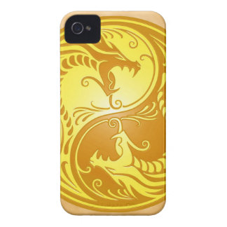 Yin Yang Dragons, brown and yellow iPhone 4 Case-Mate Case