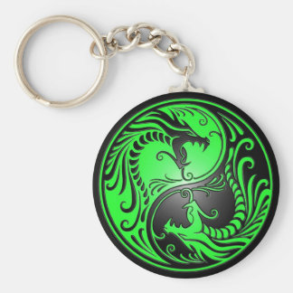 Yin Yang Dragons, green and black Basic Round Button Key Ring