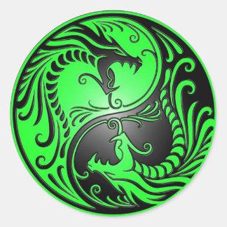 Yin Yang Dragons, green and black Classic Round Sticker