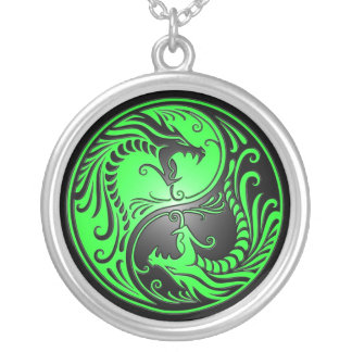 Yin Yang Dragons, green and black Round Pendant Necklace