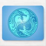 Yin Yang Dragons, light blue Mouse Pads