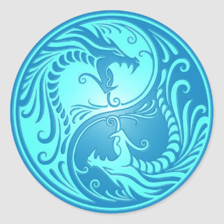 Yin Yang Dragons light blue Round Sticker