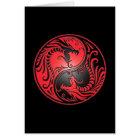 Yin Yang Dragons, red and black Card