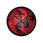 Yin Yang Dragons, red and black Clock