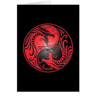 Yin Yang Dragons red and black Greeting Card