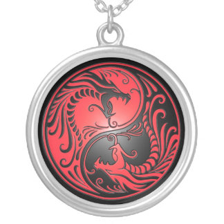 Yin Yang Dragons, red and black Round Pendant Necklace