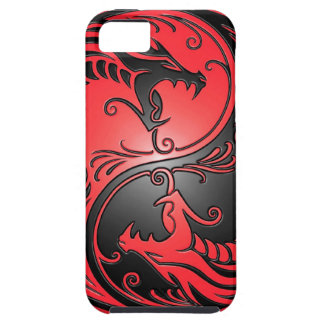 Yin Yang Dragons, red and black Tough iPhone 5 Case
