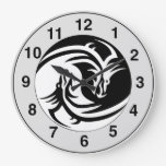 Yin Yang Dragons Tribal Tattoo Design Wall Clock
