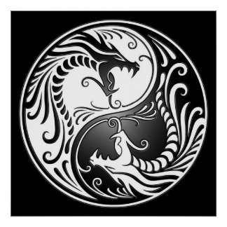 Yin Yang Dragons, white and black Posters
