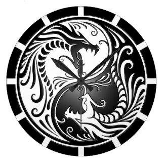 Yin Yang Dragons, white and black Wallclocks