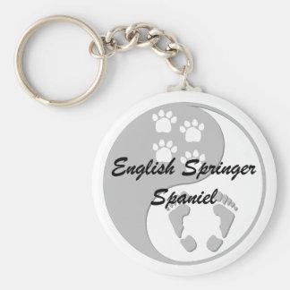 yin yang english springer spaniel basic round button key ring