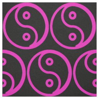 Yin Yang Fabric - Black, Hot Pink