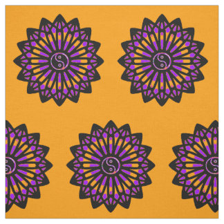 Yin Yang Fabric - Black, Orange, Purple