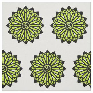 Yin Yang Fabric - Black, White. Lime Green