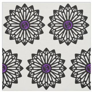 Yin Yang Fabric - Black, White, Purple