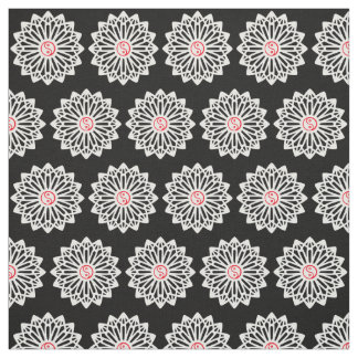 Yin Yang Fabric - Black, White, Red