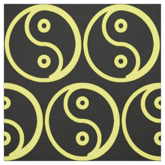 Yin Yang Fabric - Black, Yellow