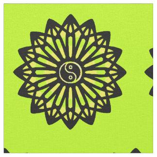 Yin Yang Fabric - Black, Yellow, Lime Green