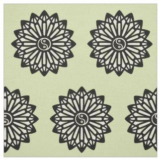 Yin Yang Fabric - Green. Black, White