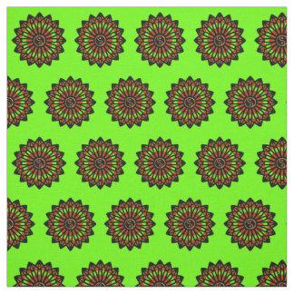 Yin Yang Fabric - Green, Red, Black