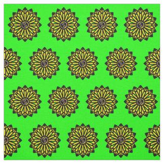 Yin Yang Fabric - Green, Yellow, Black