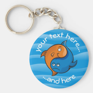 Yin Yang Fish Cartoon Basic Round Button Key Ring