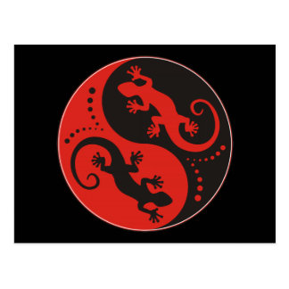 YIN & YANG Geckos black red + your background idea Postcard