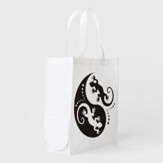 YIN & YANG Geckos black + your background & idea Reusable Grocery Bag