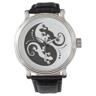 YIN & YANG Geckos black + your background & idea Wrist Watch