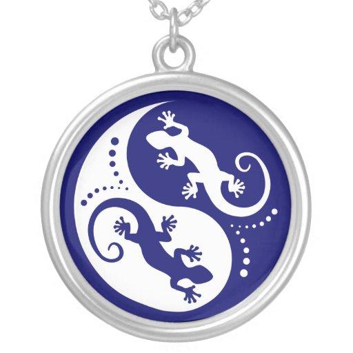 YIN & YANG Geckos white + your idea Necklace