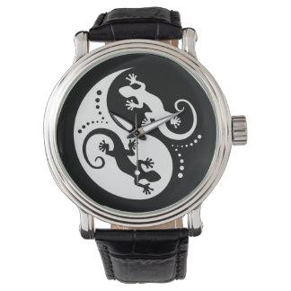 YIN & YANG Geckos white + your idea Wrist Watch