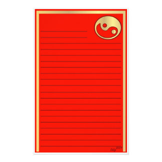 Yin Yang  Gold Red Chinese New Year Custom Stationery
