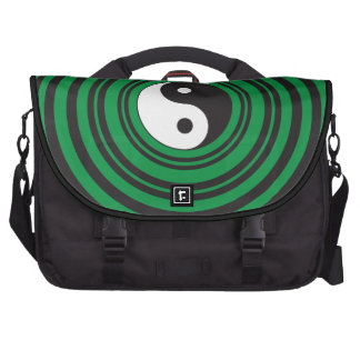 Yin Yang Green Concentric Circles Ripples Rings Commuter Bags