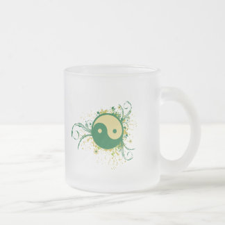 Yin Yang Green Floral Frosted Glass Coffee Mug
