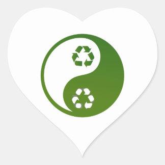 yin yang green recycle ecology theme.png heart sticker