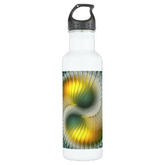 Yin Yang Green Yellow Abstract Colorful Fractal 710 Ml Water Bottle